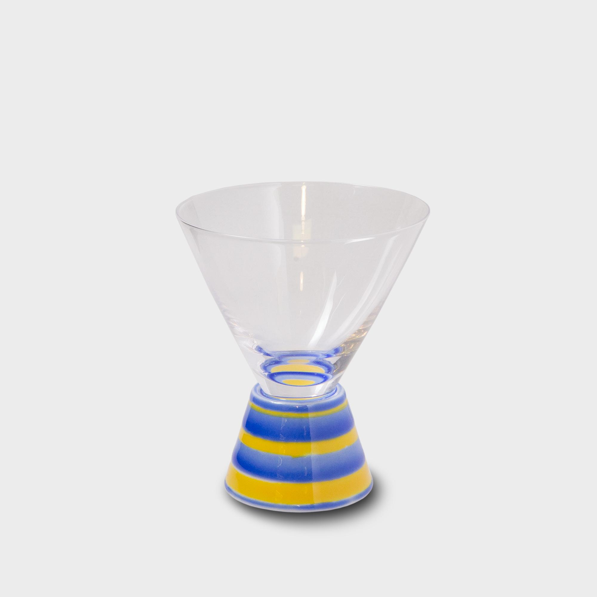 有田焼浪漫グラス SAKE GLASS丸形 黄交趾駒筋