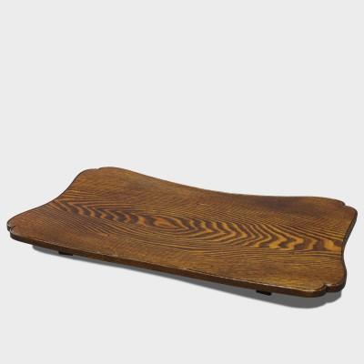 塩地拭漆糸巻俎板盆