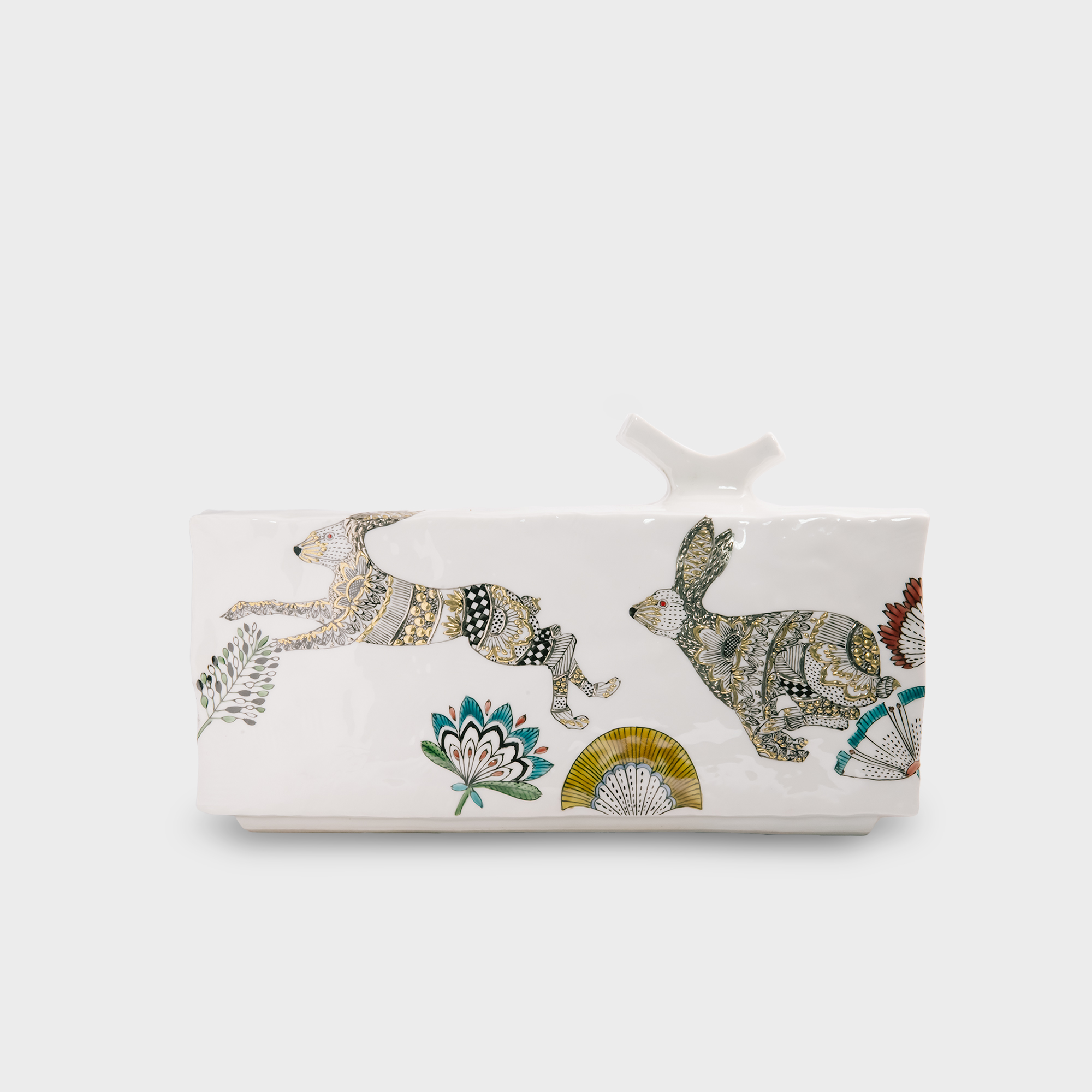 線描金盛花器・走るウサギ