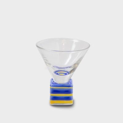 有田焼浪漫グラス SAKE GLASS角形 黄交趾駒筋
